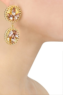 Gold Plated Pink Topaz Rochelle Earrings by Ornamas By Ojasvita Mahendru