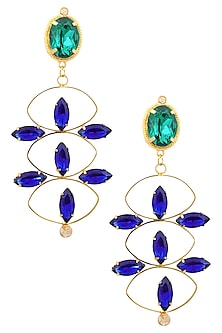 Gold Plated Redolance Blue Lotus Earrings by Ornamas By Ojasvita Mahendru