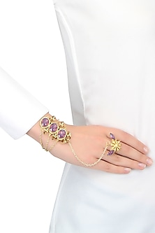 Gold plated hand harness with cyclamen and opal stones by Ornamas By Ojasvita Mahendru