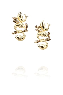 Gold plated trio fish motif earrings with brown topaz stones by Ornamas By Ojasvita Mahendru