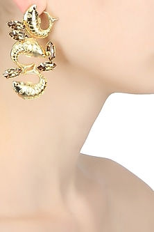 Gold plated trio fish motif earrings with brown topaz stones