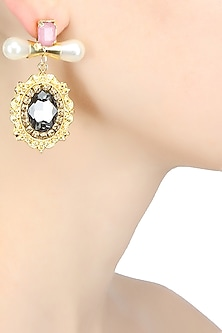 Matte finish statement earrings with pink and black stones