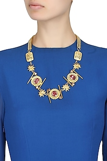 Gold plated statement necklace with rose gold stones by Ornamas By Ojasvita Mahendru