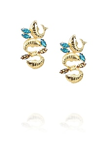 Gold plated trio fish motif earrings with blue topaz stones by Ornamas By Ojasvita Mahendru