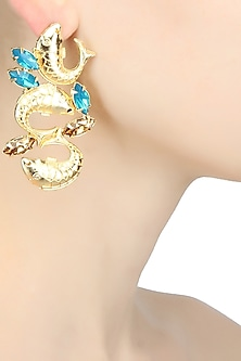 Gold plated trio fish motif earrings with blue topaz stones