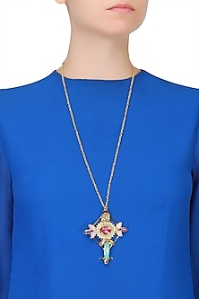 Gold Plated Stone Embellished Cross Shaped Long Chain Necklace