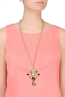 Gold Plated Cross Shaped Long Chain Necklace