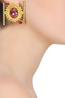 Gold Plated Pink Stone Halo Shaped Earrings