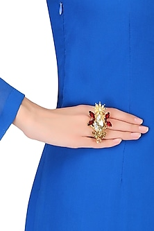 Gold Plated Stone Embellished Star Anise Adjustable Ring