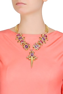 Gold Plated Pink, Topaz And Purple Stones Statement Neckpiece