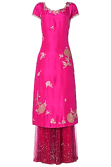 Fuschia Pink Straight Kurta with Sharara Pants Set