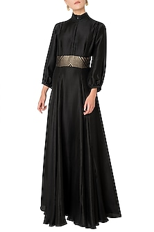 Black Pleated Gown with Woven Embroidered Belt by OSAA - By Adarsh