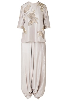 Oyster Applique Work Top with Pleated Dhoti Pants