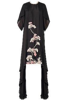 Black Asymmetrical Zardozi Embroidered Dress