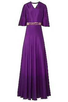 Purple Ombre Gown with Embroidered Woven Belt