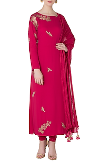 Tomato Red Embroidered Kurta with Churidar Pants by OSAA - By Adarsh