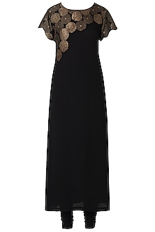 Black Embroidered Kurta with Churidar Pants by OSAA - By Adarsh
