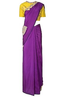 Purple Applique Work Tassels Saree and Mustard Embroidered Blouse by OSAA - By Adarsh