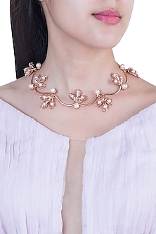 22 Kt Matte Rose Gold Plated Pearl Bud Necklace by Outhouse