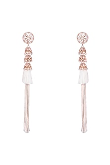 22 Kt Matte Rose Gold Plated Long Earrings by Outhouse