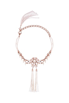 22 Kt Matte Rose Gold Plated Crystal & Pearl Choker Necklace by Outhouse