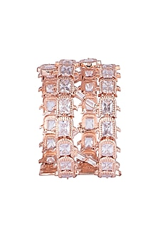 22 Kt Matte Rose Gold Plated Cluster Rose Cuff by Outhouse