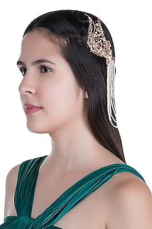 Matte Rose Gold Plated Pearl Headgear by Outhouse