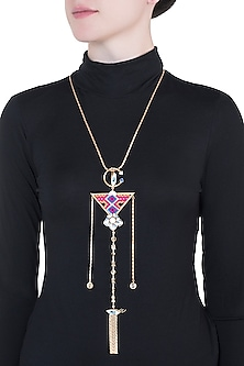 Gold Plated Multi Colored Bohemian Long Chain Necklace