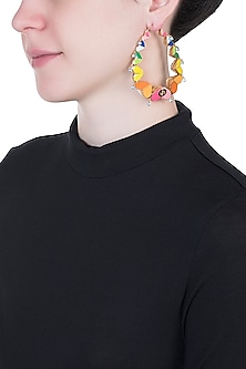 Gold Plated Rainbow Heart Hoop Earrings by Outhouse