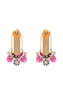 Gold Plated Multi Colored Tassel Boho Earrings by Outhouse