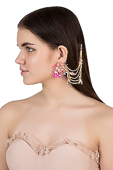 Gold Plated Floral Motif Chain Earrings by Outhouse
