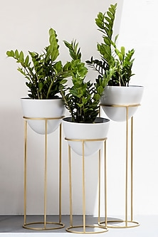 Egg Shaped White And Gold Planter-Set Of 3 by The Decor Remedy
