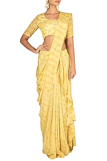 Yellow Embroidered Printed Saree Set by Paulmi & Harsh