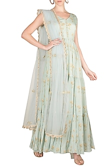 Sea Green Embroidered Printed Anarkali WIth Dupatta by Paulmi & Harsh