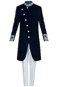 Navy Blue Embroidered Indo-Western Sherwani Set by Pawan & Pranav Haute Couture