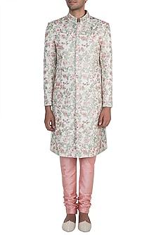 Off White Embroidered Sherwani Jacket & Peach Churidar Pants by Pawan & Pranav Haute Couture
