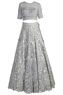 Silver Embroidered Lehenga Set by Pawan & Pranav Haute Couture