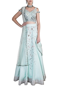 Mint Blue Embroidered Lehenga Set by Pawan & Pranav Haute Couture