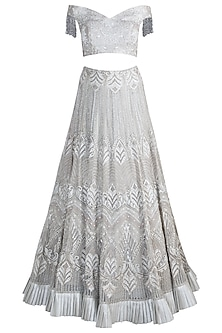 Silver Bead Embroidered Lehenga Set by Pawan & Pranav Haute Couture