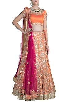 Orange Embroidered Lehenga Set by Pawan & Pranav Haute Couture