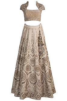 Gold Embroidered Lehenga Set by Pawan & Pranav Haute Couture