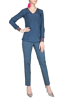 Grey Embroidered Blouse With Pants by Priya Agarwal