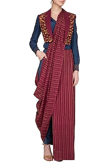 Maroon Embroidered Pant Saree Set With Cropped Jacket by Priya Agarwal
