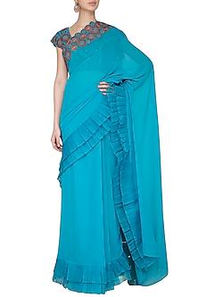 Aqua Blue Embroidered Saree Set by Priya Agarwal