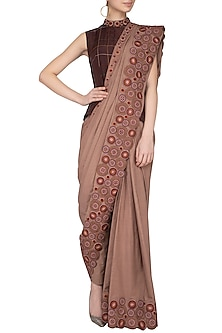 Light Brown Embroidered Pant Saree With Jacket by Priya Agarwal