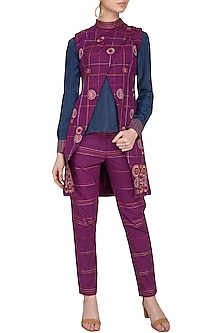 Magenta Embroidered Jacket With Pants & Blouse by Priya Agarwal