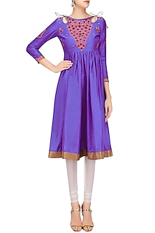 Blue and Pink Floral Embroidered Anarkali Kurta by Priya Agarwal
