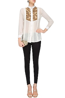 White and Gold Sequins Embroidered Button Down Shirt by Priya Agarwal