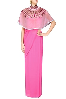 Hot Pink Saree and Blush Pink Embroidered Cape Set by Priya Agarwal