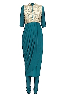 Teal Blue Floral Embroidered Drape Kurta Set